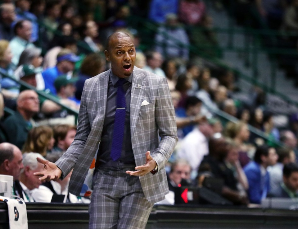 <strong>University of Memphis coach Penny Hardaway reacts to a call during a road game against the Tulane University Green Wave in New Orleans Feb. 29, 2020.</strong> (Patrick Lantrip/Daily Memphian)