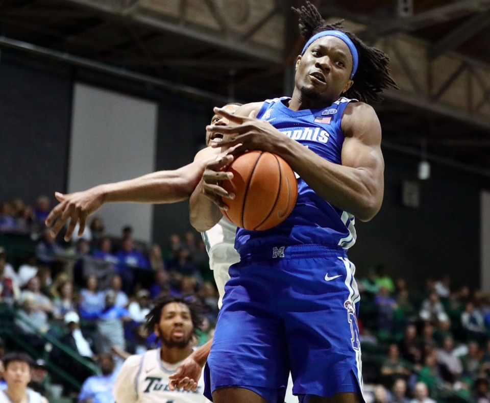 <strong>University of Memphis forward Precious Achiuwa (55) grabs a rebound during a road game against the Tulane University Green Wave in New Orleans Feb. 29, 2020.</strong> (Patrick Lantrip/Daily Memphian)