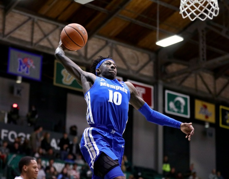 <strong>University of Memphis guard Damion Baugh (10) rises up for a dunk during a road game against the Tulane University Green Wave in New Orleans Feb. 29, 2020.</strong> (Patrick Lantrip/Daily Memphian)