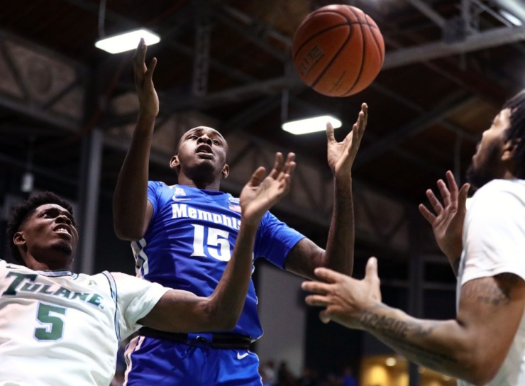 <strong>University of Memphis forward Lance Thomas (15) fights for a rebound during a road game against the Tulane University Green Wave in New Orleans Feb. 29, 2020.</strong> (Patrick Lantrip/Daily Memphian)