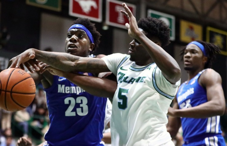 <strong>University of Memphis center Malcolm Dandridge (23) fights for a rebound during a road game against the Tulane University Green Wave in New Orleans Feb. 29, 2020.</strong> (Patrick Lantrip/Daily Memphian)