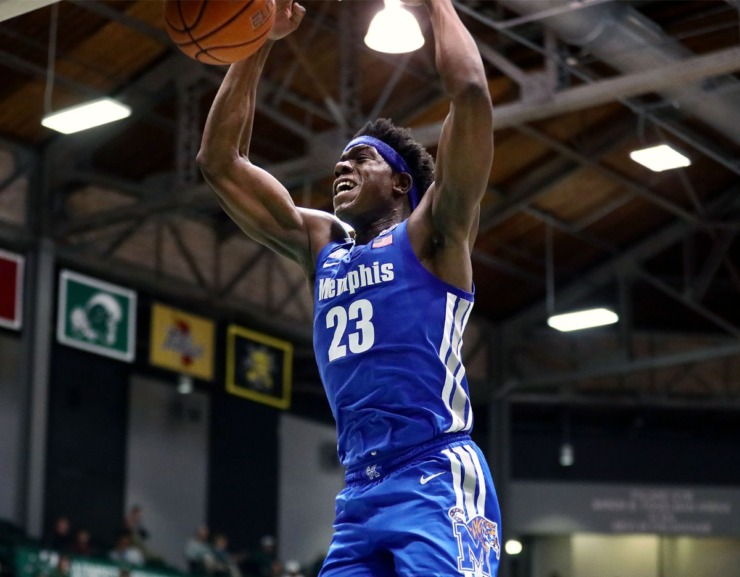 <strong>University of Memphis center Malcolm Dandridge (23) slams the ball home during a road game against the Tulane University Green Wave in New Orleans Feb. 29, 2020.</strong> (Patrick Lantrip/Daily Memphian)