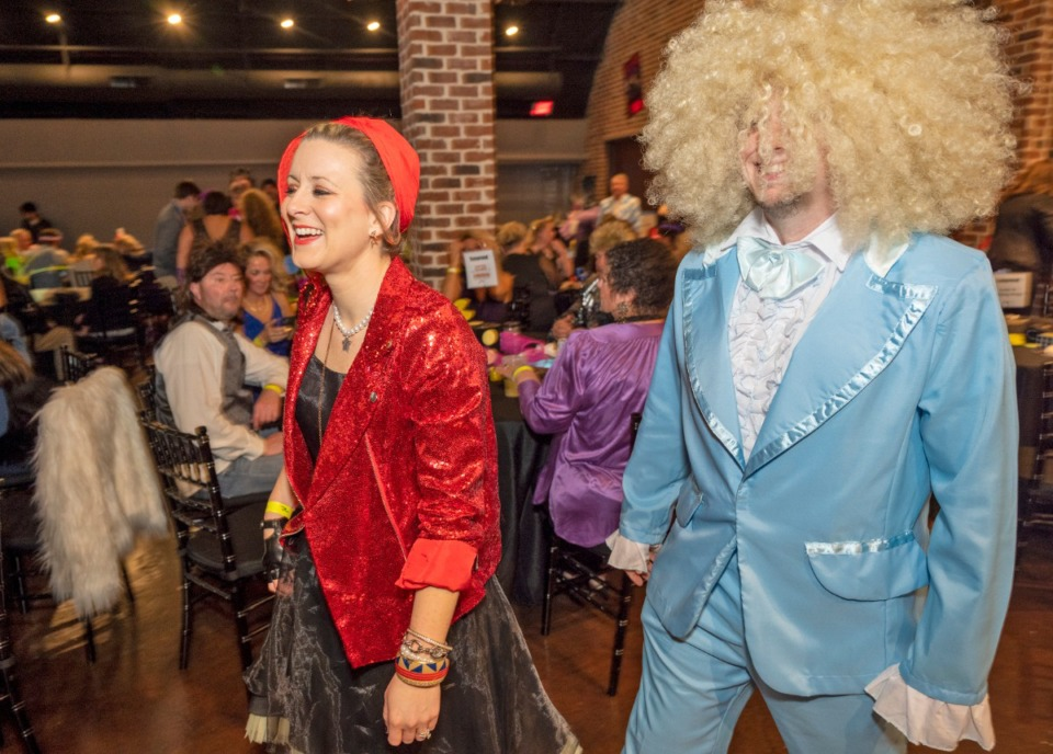 <strong>Rachel and Tyler Salyer are attired for&nbsp; the 80's Prom fundraiser hosted by Collierville Cares, Saturday, Feb. 29, 2020, to benefit Collierville Animal Services.</strong> (Greg Campbell/Special to The Daily Memphian)