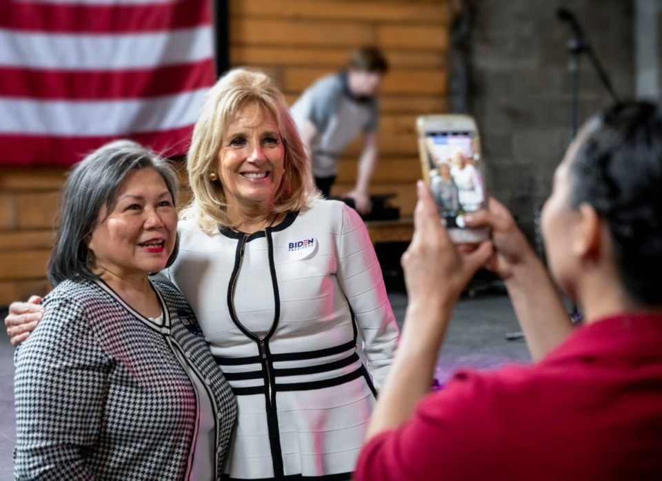 <strong>Dr. Jill Biden poses with Meryl Rice (left) of Whiteville, Tennessee Democratic Party Executive Committeewoman, during a campaign event to gather support for former Vice President Joe Biden in the March 3 Super Tuesday Tennessee primary. The event was held at Loflin Yard near</strong> Downtown on Sunday, March 1, 2020. (Mike Kerr/Special to Daily Memphian)