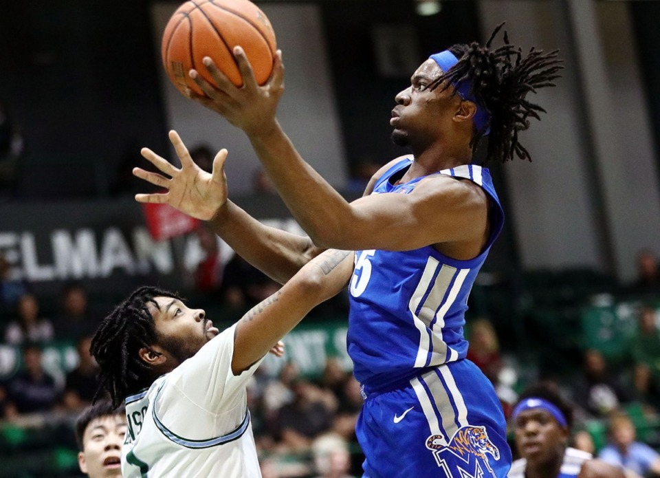 <strong>University of Memphis forward Precious Achiuwa (55) goes in for a layup during a road game against the Tulane University Green Wave in New Orleans Feb. 29, 2020.</strong> (Patrick Lantrip/Daily Memphian)