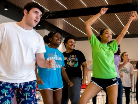 <strong>(From left) Josh Morrow, Riya Golden, Loren Watson and Zaria Crawford practice a dance routine in their theatre class. The class is currently practicing in Bartlett High School's new cafeteria, but construction for the new 1000-seat theatre is nearing completion.</strong> (Houston Cofield/Special To The Daily Memphian)