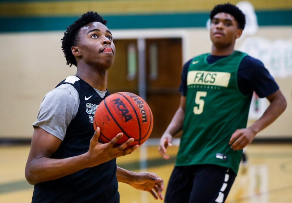 <strong>First Assembly Christian School forward Daniel Egbuniwe drives to the basket during practice Monday March. 2, 2020. The Crusaders have advanced to the state tournament for the first time in 12 years.</strong> (Mark Weber/Daily Memphian)