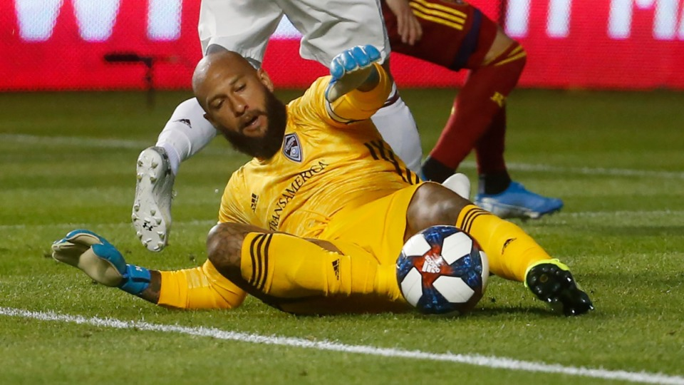 <strong>Colorado Rapids goalkeeper Tim Howard (1) makes a save against Real Salt Lake in the first half of a MLS soccer match on Aug. 24, 2019, in Sandy, Utah.</strong> (AP Photo file)