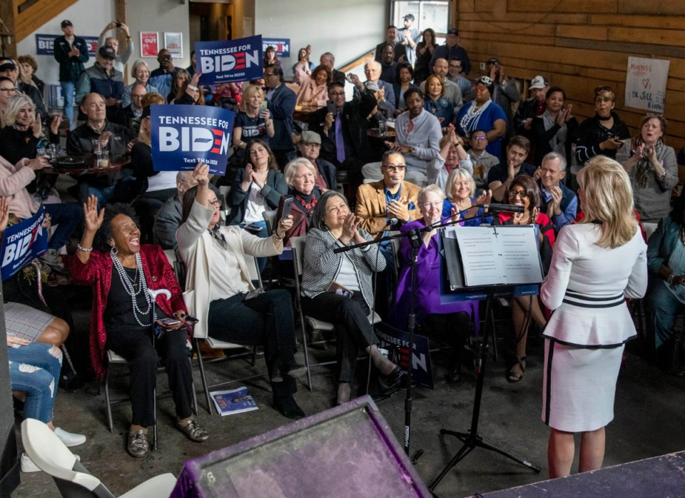 <strong>Dr. Jill Biden talks with supporters during her Memphis campaign stop to seek support for her husband in the March 3 Super Tuesday Tennessee primary. The event was held at Loflin Yard near Downtown on Sunday, March 1, 2020.</strong> (Mike Kerr/Special to Daily Memphian)
