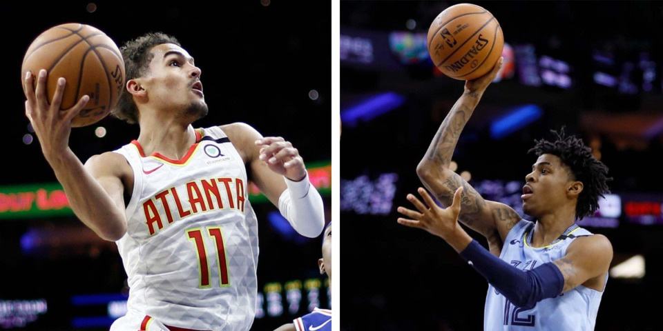 <strong>Trae Young and Ja Morant will face off Saturday night when the Atlanta Hawks play the Grizzlies at FedExForum. </strong>(AP)