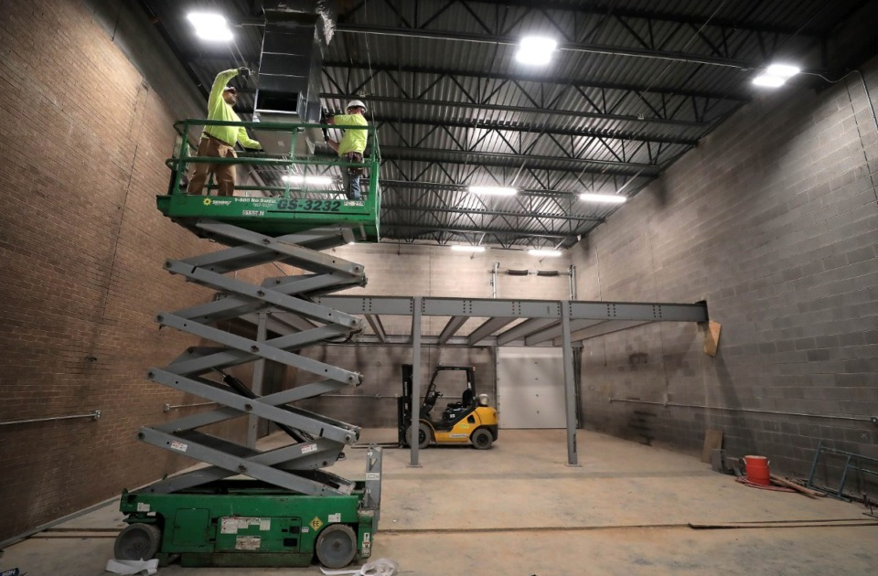 <strong>Construction crews work in a new backstage area at Theatre Memphis on Feb. 27, 2020, as the theater undergoes a multimillion dollar renovation in advance of its 100th season.</strong> (Jim Weber/Daily Memphian)