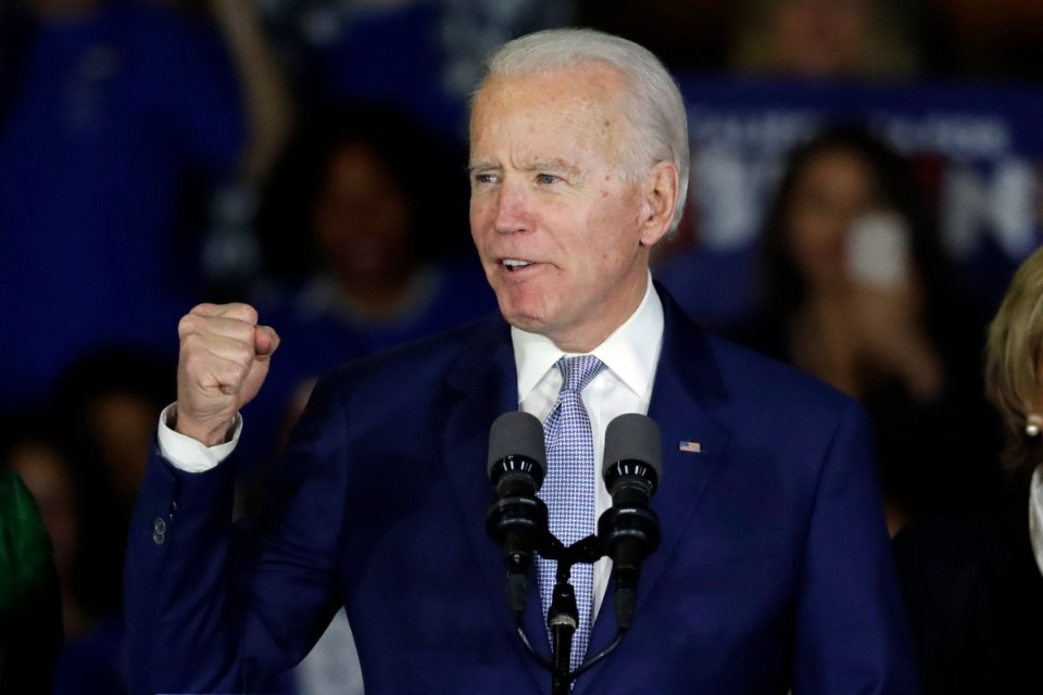 <strong>Democratic presidential candidate former Vice President Joe Biden speaks at a primary election night campaign rally Tuesday, March 3, 2020, in Los Angeles.</strong> (Chris Carlson/AP)