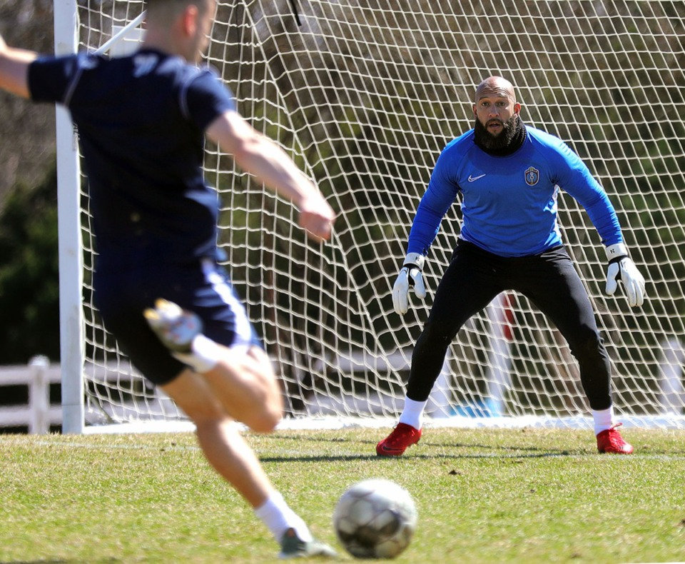 <strong>Memphis 901 FC sporting director and former USMNT goalie Tim Howard practices with his team at Mike Rose Soccer Complex on March 5, 2020, after announcing he was coming out of retirement.</strong> (Patrick Lantrip/Daily Memphian)