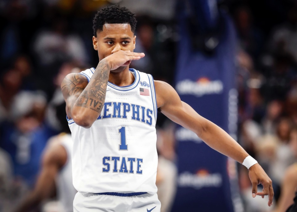 <strong>Memphis guard Tyler Harris celebrates a made 3-pointer during action against Wichita State on Thursday, March 5, 2020 at FedExForum.</strong> (Mark Weber/Daily Memphian)