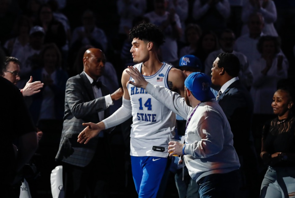 <strong>Memphis forward Isaiah Maurice (middle) is introduced on senior night before taking on Wichita State Thursday, March 5, 2020, at FedExForum.</strong> (Mark Weber/Daily Memphian)