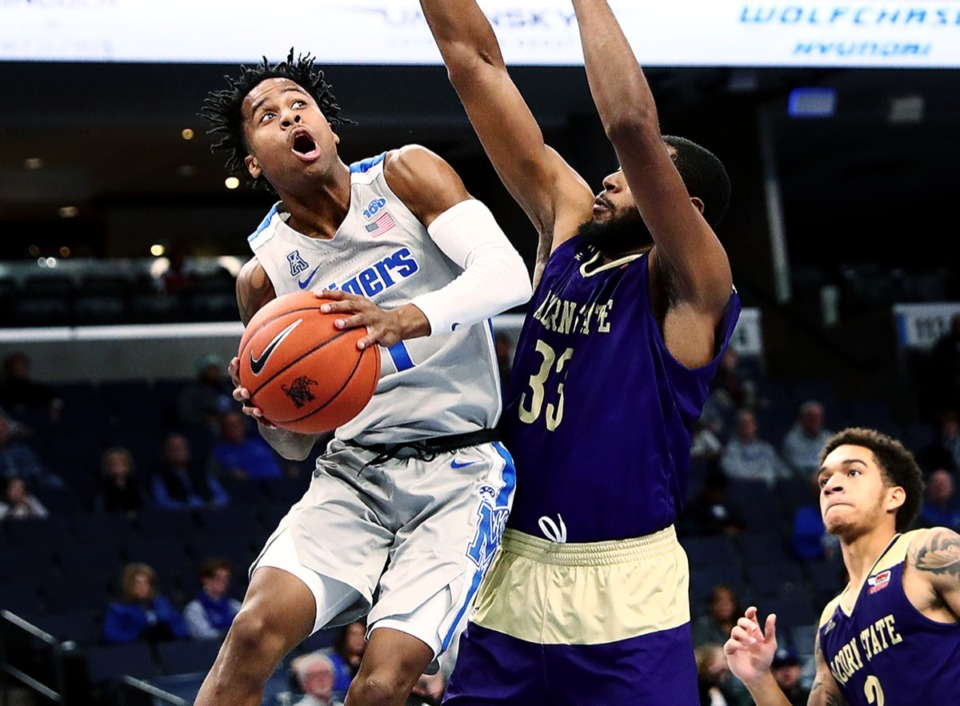 <strong>University of Memphis guard Tyler Harris (1) looks for his shot while under pressure from Alcorn State University at FedExForum Nov. 16, 2019.</strong> (Patrick Lantrip/Daily Memphian)