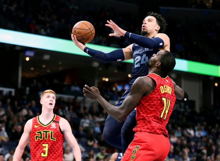 <strong>Memphis Grizzlies forward Dillion Brooks (24) goes up for a lay up during a March 7, 2020, game at FedExForum against the Atlanta Hawks.</strong> (Patrick Lantrip/Daily Memphian)