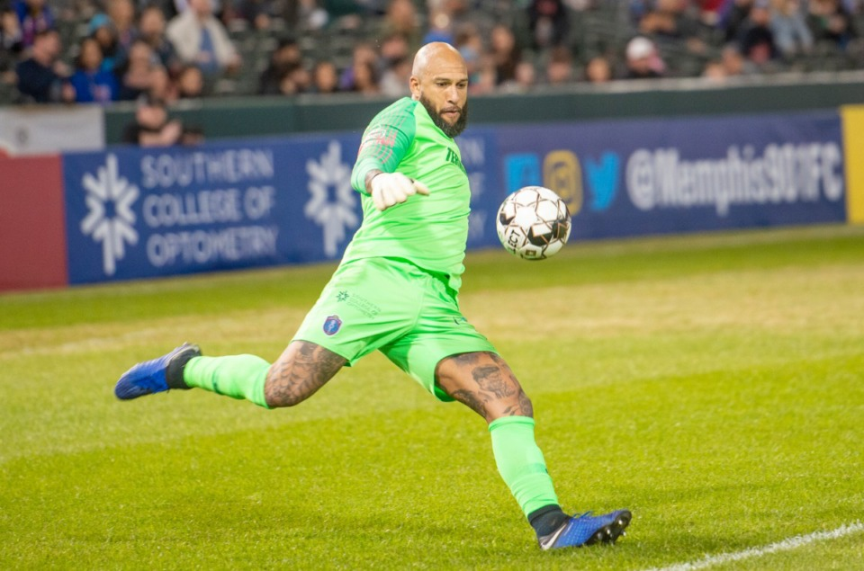 <strong>Memphis 901 FC goalie Tim Howard kicks the ball up field during Saturday's season opener against Indy Eleven at AutoZone Park.</strong> (Greg Campbell/Special to The Daily Memphian)
