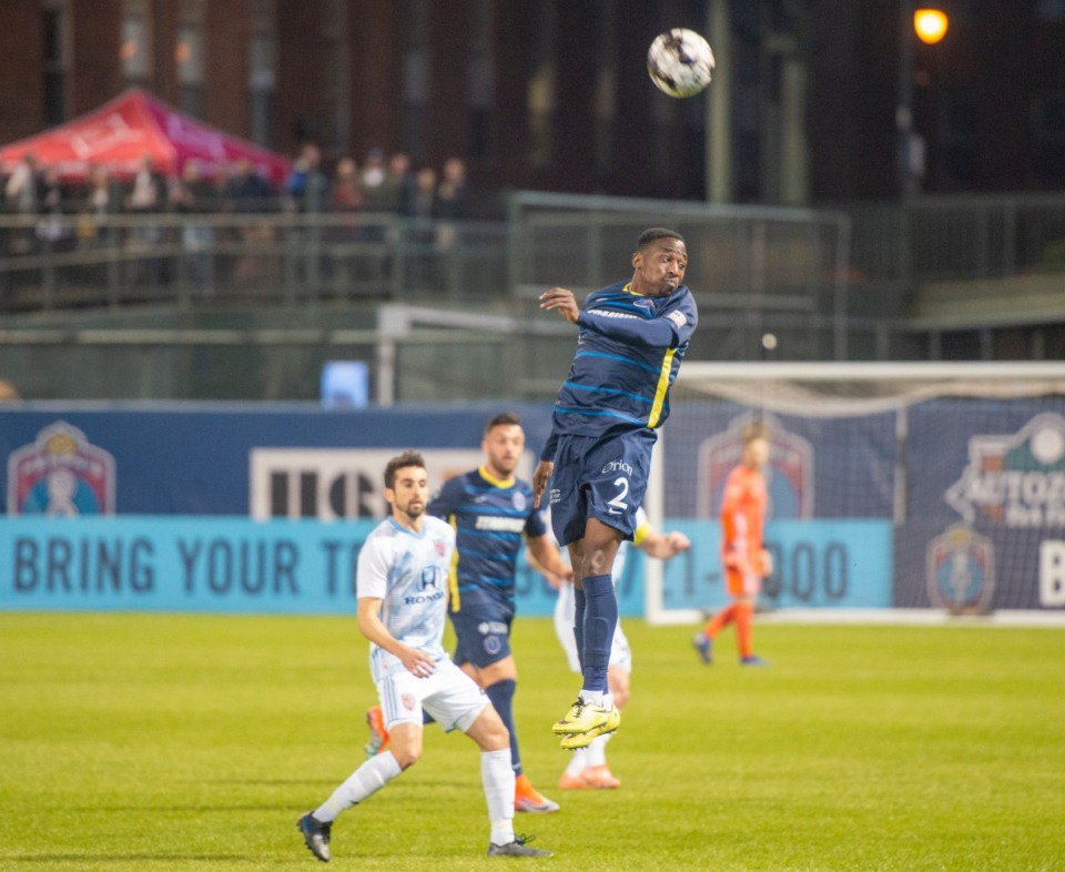 <strong>Memphis 901 FC defender Mark Segbers goes for the ball in the season opener against Indy Eleven at AutoZone Park Saturday, March 7, 2020.</strong> (Greg Campbell/Special to The Daily Memphian)