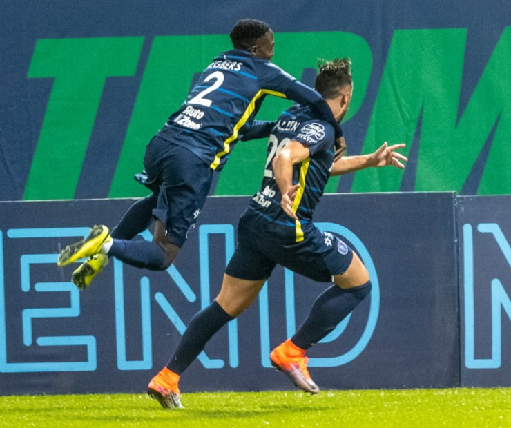 <strong>Memphis 901 FC teammates Mark Segbers and Brandon Allen celebrate after Allen scored an early goal against Indy Eleven in the season opener at AutoZone Park Saturday, March 7, 2020.</strong> (Greg Campbell/Special to The Daily Memphian)