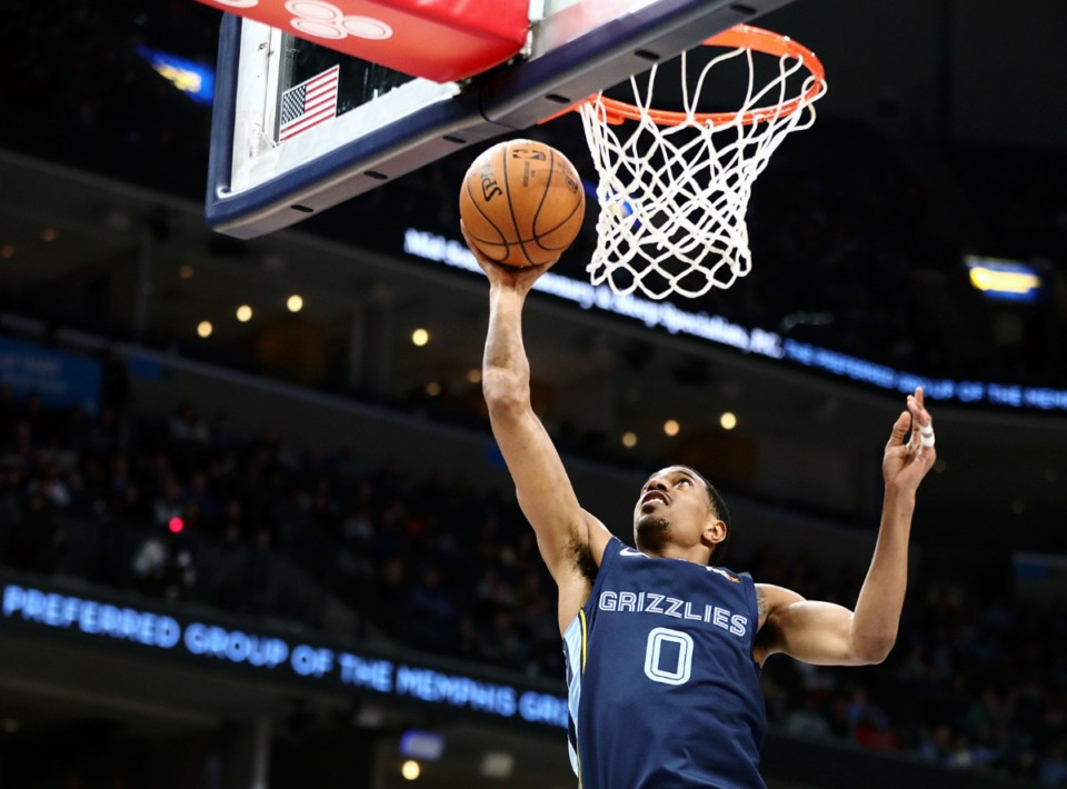 <strong>Memphis Grizzlies guard De' Anthony Melton (0) shoots a layup during a March 7, 2020, game at FedExForum against the Atlanta Hawks.</strong> (Patrick Lantrip/Daily Memphian)