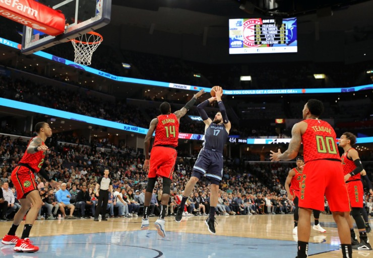 <strong>Memphis Grizzlies center Jonas Valanciunas (17) shoots a fadeaway jumper during a March 7, 2020, game at FedExForum against the Atlanta Hawks.</strong> (Patrick Lantrip/Daily Memphian)