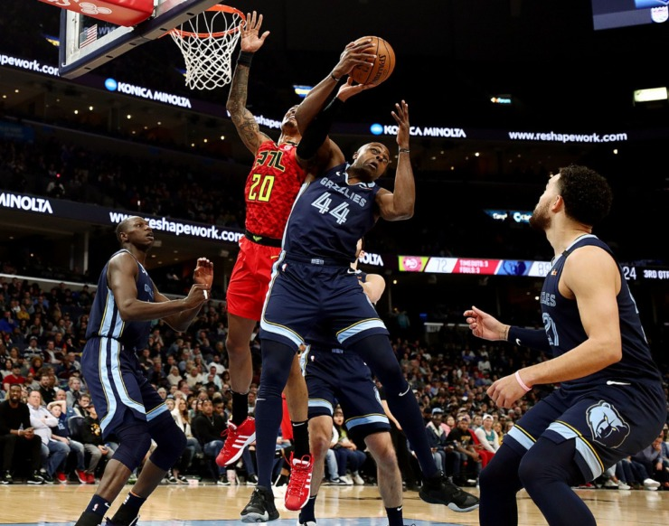 <strong>Memphis Grizzlies forward Anthony Tolliver (44) fights for a rebound during a March 7, 2020, game at FedExForum against the Atlanta Hawks.</strong> (Patrick Lantrip/Daily Memphian)