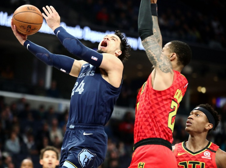 <strong>Memphis Grizzlies forward Dillion Brooks (24) crashes the lane during a March 7, 2020, game at FedExForum against the Atlanta Hawks.</strong> (Patrick Lantrip/Daily Memphian)