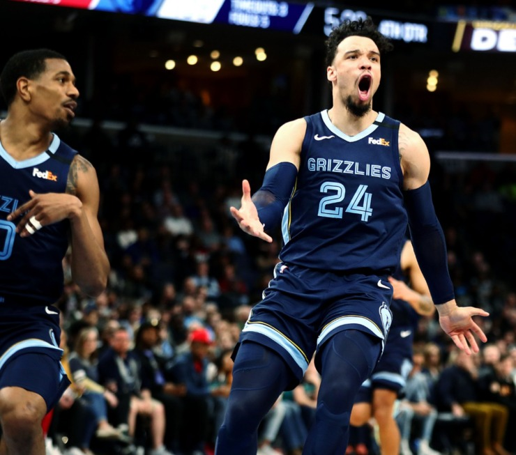 <strong>Memphis Grizzlies forward Dillion Brooks (24) reacts to a call during a March 7, 2020, game at FedExForum against the Atlanta Hawks.</strong> (Patrick Lantrip/Daily Memphian)