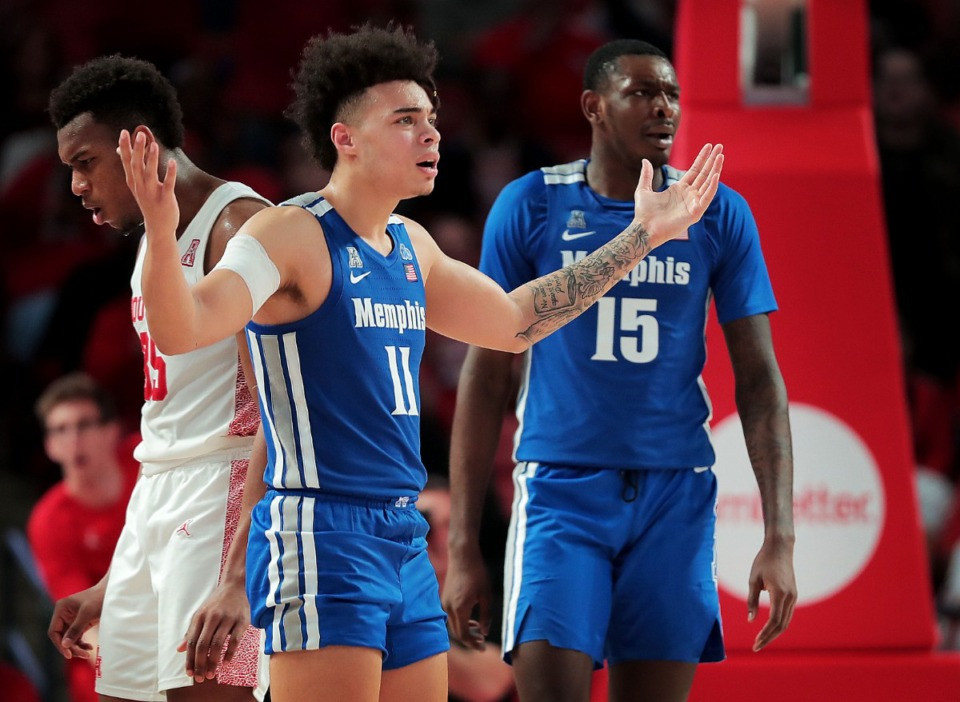 <strong>University of Memphis guard Lester Quinones (11) reacts after the referee fails to make a foul call during the Tigers' game against the Cougars at the Fertitta Center in Houston on March 8, 2020.</strong> (Jim Weber/Daily Memphian)