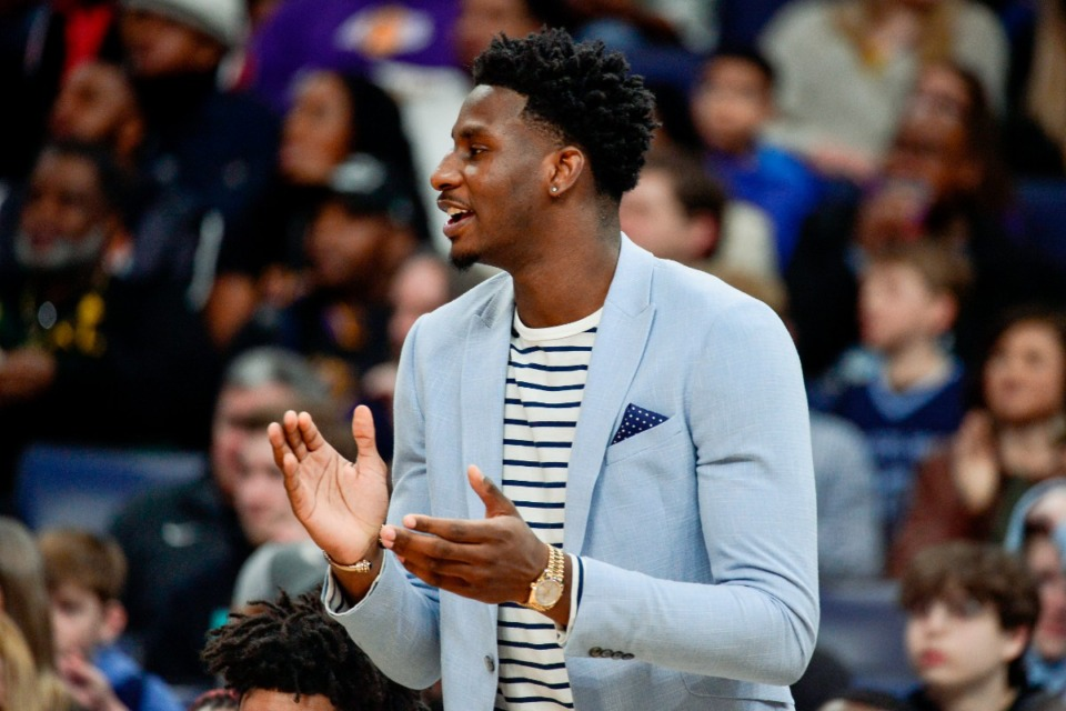 <strong>Memphis Grizzlies forward Jaren Jackson Jr. looks on from the sideline in the first half of an NBA basketball game against the Los Angeles Lakers Saturday, Feb. 29, 2020, in Memphis, Tenn.</strong> (AP Photo/Brandon Dill)