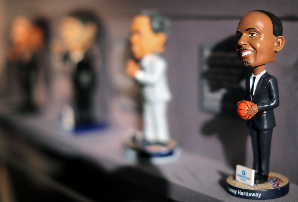 <strong>Bobbleheads of University of Memphis coaches Penny Hardaway, Tubby Smith, Josh Pastner and John Calipari are on display at the Pink Palace's new exhibit on the history of the university's men's and women's basketball programs.</strong> (Patrick Lantrip/Daily Memphian)
