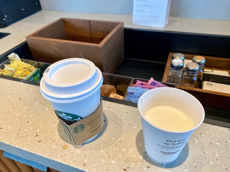 <strong>A cup of Starbucks coffee and a cup of cream.</strong> (Tom Bailey/Daily Memphian)