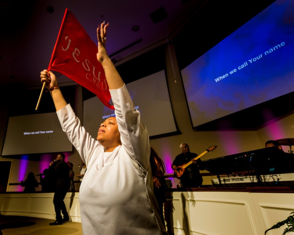<strong>Spiritual dancer Danielle Glenn leads the church in dance at Pursuit of God Church on March 8, 2020 in Frayser. </strong>(Ziggy Mack/Special to The Daily Memphian)