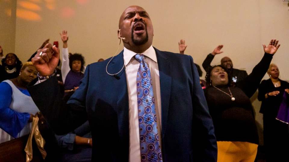 <strong>Pastor Jonathan Davis praises along with the church at Pursuit of God Church on March 8, 2020 in Frayser.</strong> (Ziggy Mack/Special to The Daily Memphian)