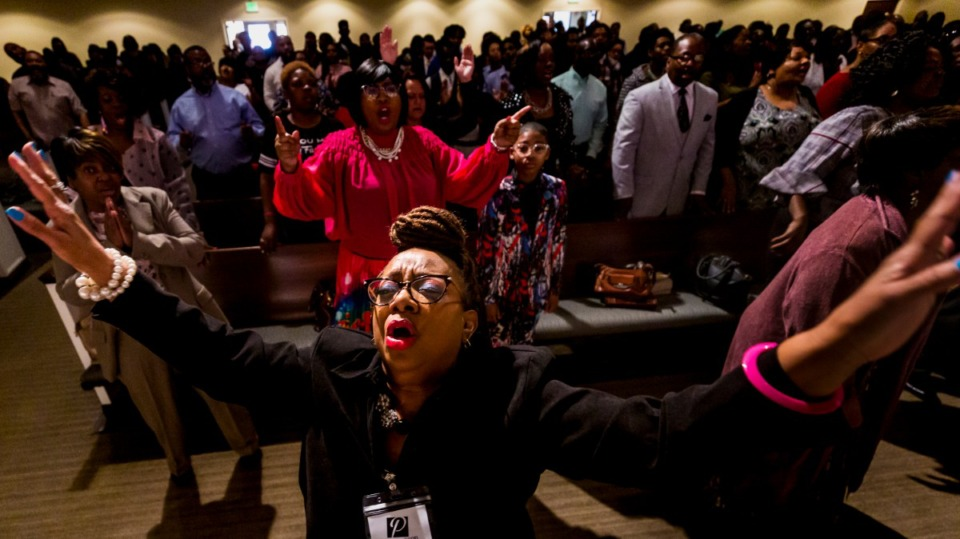 <strong>Vanessa Billingsley joins others in praise at Pursuit of God Church on March 8, 2020 in Frayser.</strong> (Ziggy Mack/ Special to The Daily Memphian)