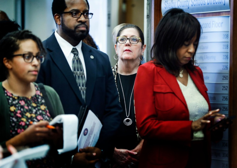 <strong>Shelby County Health Department Director Alisa Haushalter (middle right) attends a Shelby County Schools press conference on Monday, March 9, 2020.</strong> (Mark Weber/Daily Memphian)