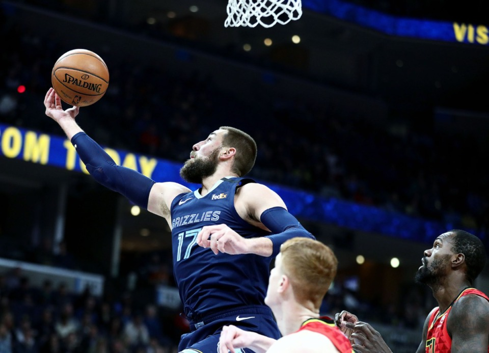 <strong>Memphis Grizzlies center Jonas Valanciunas (17) fights for a board during a March 7, 2020 game at the FedExForum against the Atlanta Hawks.</strong> (Patrick Lantrip/Daily Memphian)