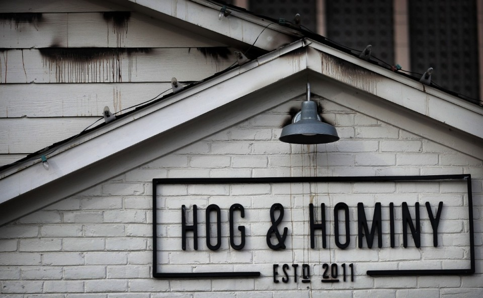 <strong>Smoke and water damage were visible at Hog &amp; Hominy after an overnight fire Jan. 9, 2020. The building had been under renovation.</strong> (Jim Weber/Daily Memphian file)