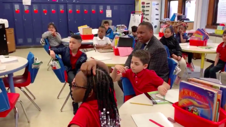 <span><strong>Superintendent Joris Ray visits Treadwell Elementary a day after many parents checked out their children from school early because an employee was quarantined after coming in contact with a COVID-19 patient.</strong> (Shelby County Schools)</span>