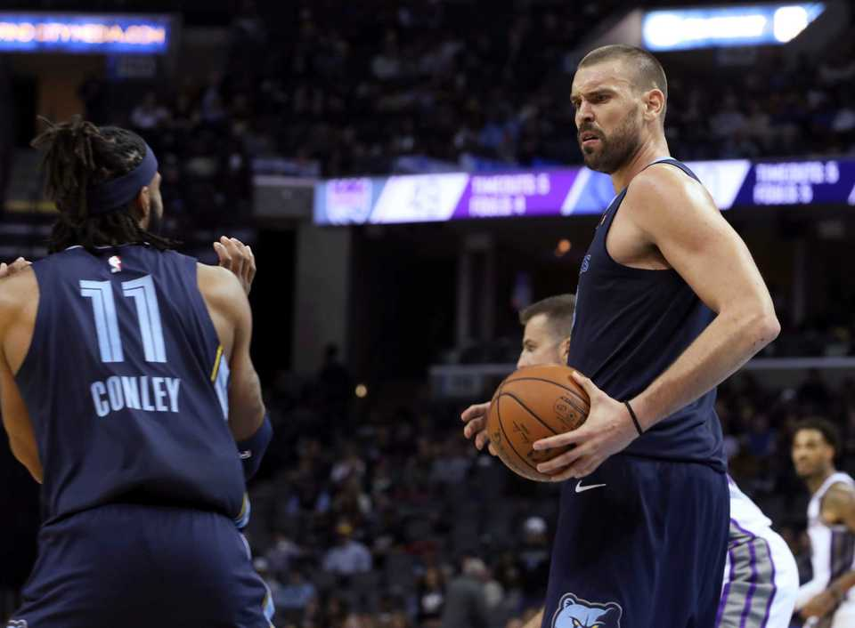 <span><strong>Memphis Grizzlies' Marc Gasol (33) and Mike Conley (11) look at each other after both tussled for the ball during the first half of an NBA basketball game against the Sacramento Kings on Friday, Nov. 16, 2018, in Memphis, Tenn.</strong> (AP Photo/Karen Pulfer Focht)</span>