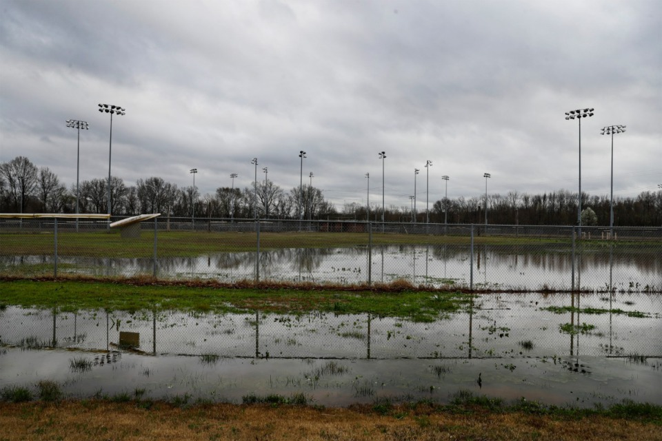<strong>The baseball fields in Rodney Baber Park flooded after heavy rain hit the area on Wednesday, March 11. In 2011,&nbsp;<span>flooding damaged the park's electrical infrastructure, baseball fields and restrooms.&nbsp;</span>Beginning this fall, the park will undergo a $7 million renovation that will include new soccer fields, a baseball diamond, fishing lake, covered pavilion and walking trails. Wetlands will also be put in to mitigate flooding.</strong> (Mark Weber/Daily Memphian)