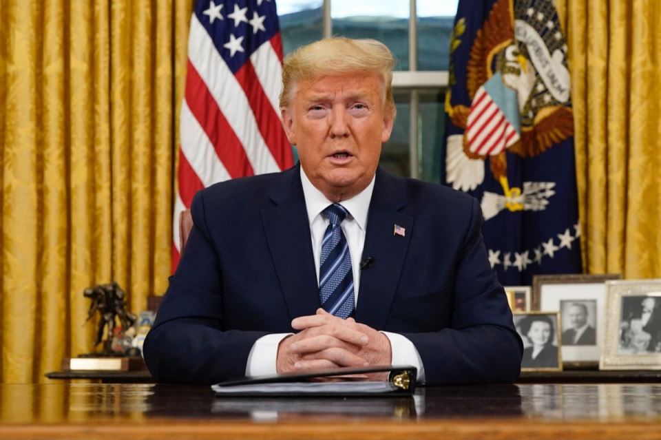 <strong>President Donald Trump speaks in an address to the nation from the Oval Office at the White House about the coronavirus Wednesday, March, 11, 2020, in Washington.</strong> (Doug Mills/The New York Times via AP, Pool)