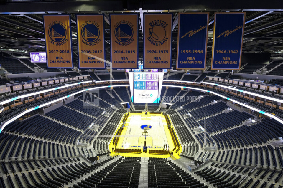 <strong>This Aug. 26, 2019, file photo of an empty Chase Center in San Francisco reflects the current state of most major sports.</strong> (Eric Risberg/AP file)