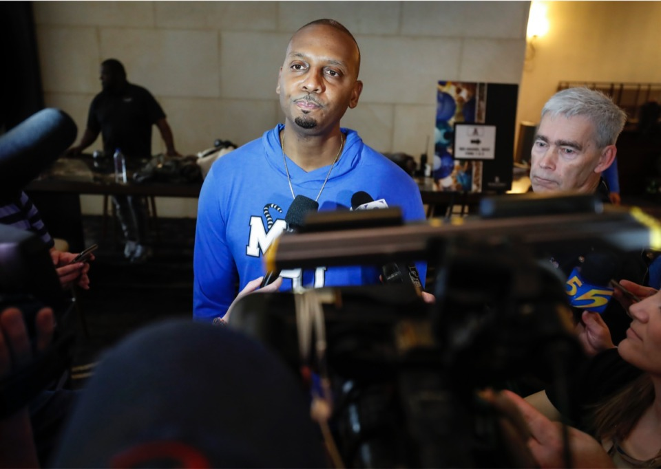 <strong>Memphis head coach Penny Hardaway speaks to the media after American Athletic Conference officials announced the cancellation of the men&rsquo;s conference basketball tournament on Thursday, March 12, 2020, in Fort Worth.</strong> (Mark Weber/Daily Memphian)