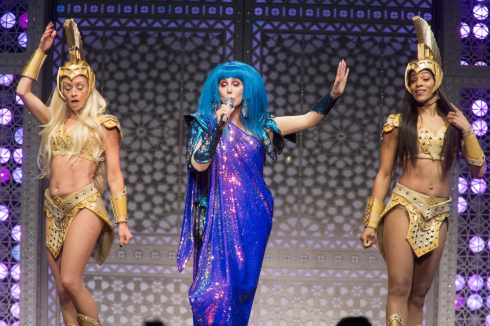 "<strong>Cher performs in concert during her ""Here We Go Again Tour"" at The Wells Fargo Center on Dec. 6, 2019, in Philadelphia.</strong> (Owen Sweeney/Invision/AP)"