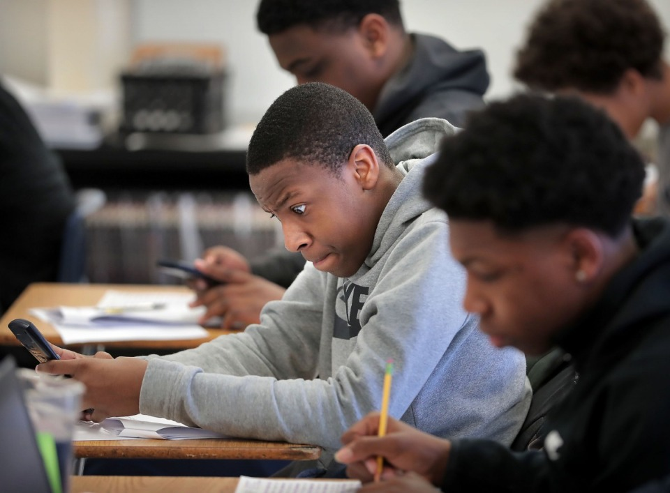 <strong>Eighth grader Travis Griffin concentrates on the last few questions on a TCAP practice test as the clock runs down during class at Westside Middle School on March 6, 2020. </strong>&nbsp;(Jim Weber/Daily Memphian)
