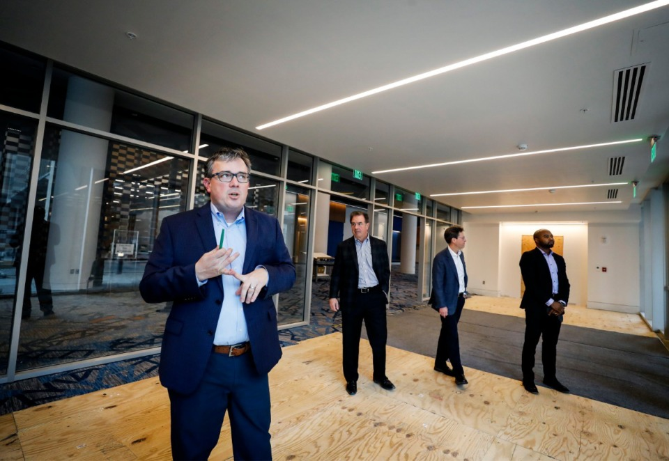 <strong><span>&ldquo;Well beyond our expectations,&rdquo; is how Tom Marshall described MFA&rsquo;s success so far. Pictured are partners Alan Barner (left), Marshall, Scott Fleming and Aaron Patrick Campbell as they toured the</span>&nbsp;Renasant Convention Center on Monday, March 9, 2020.</strong> (Mark Weber/Daily Memphian)
