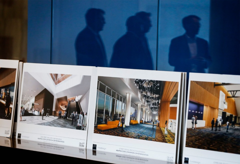 <strong>Renderings of the new grand lobby of the Renasant Convention Center shown on Monday, March 9, 2020 during a tour with MFA leaders.</strong> (Mark Weber/Daily Memphian)