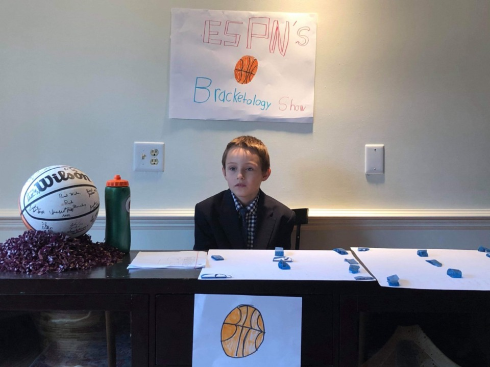 "<span class=""s1""><strong>At precisely 2 p.m. Sunday, March 15, ""The Owen Lunardi Selection Sunday"" show began, featuring Owen Dowdle, 9, of Germantown.</strong> (Submitted photo)</span>"